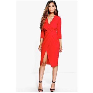 Red Midi Wrap Dress